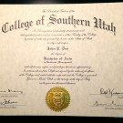 Fake College of Southern Utah Diploma