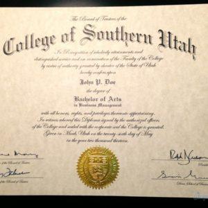 Fake College of Southern Utah Diploma