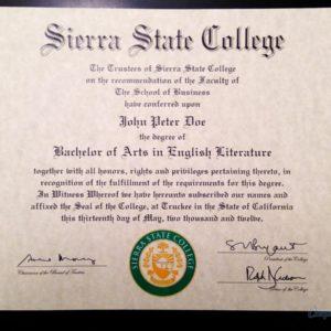 Fake Sierra State College DIploma
