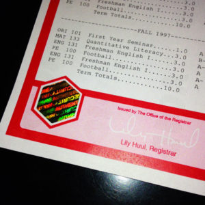 Fake University Transcript Hologram (T03-RED)
