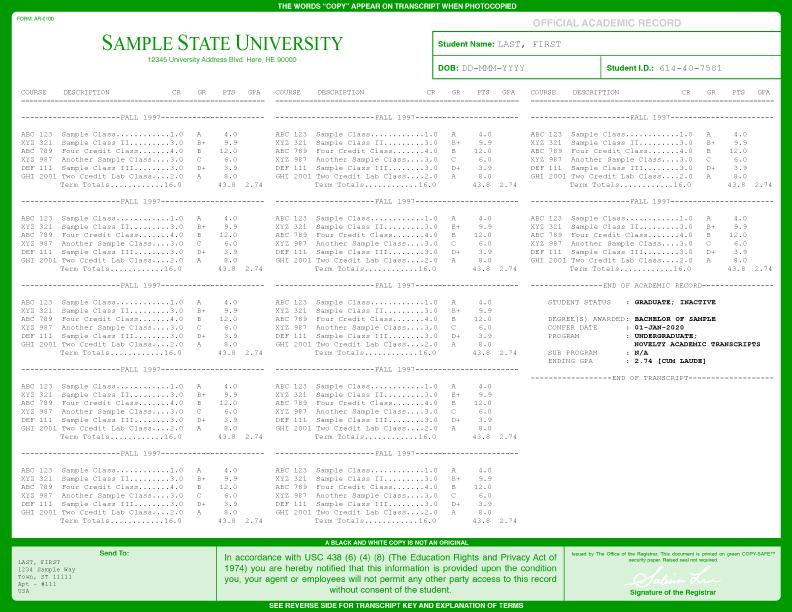 University transcripts template images for Free transcript template