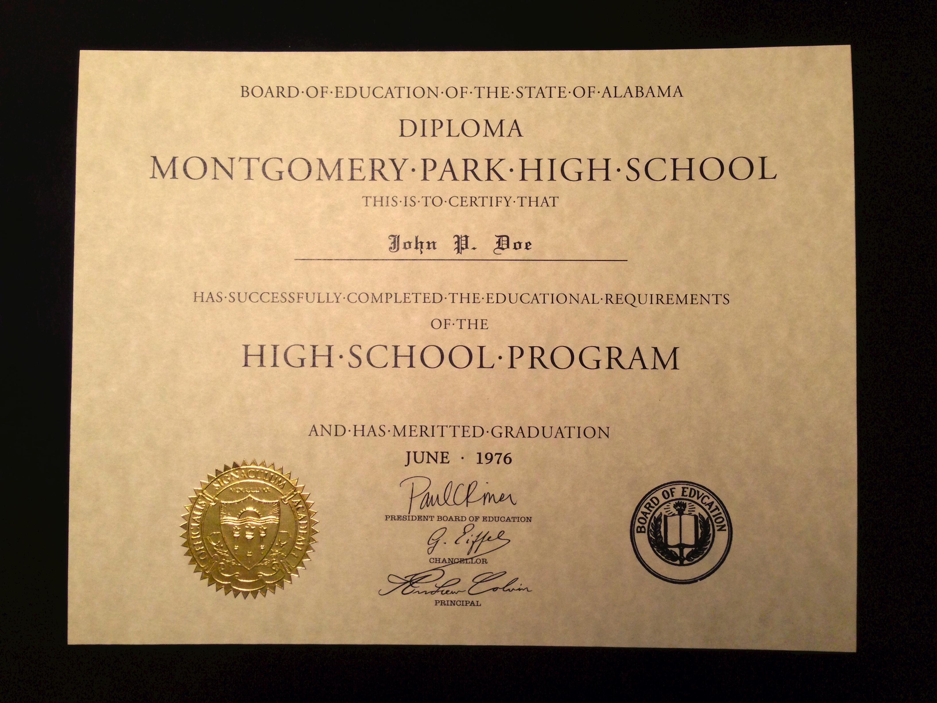 Blank High School Diploma Novelty High School Diploma