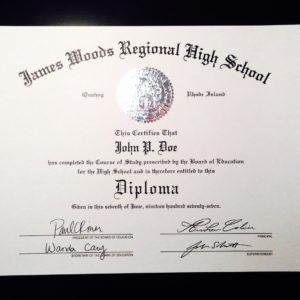 fake high school diploma with a silver embossed seal