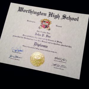 Fake Diploma Template // HS-D01 | Seal Design // ES03-GOLD