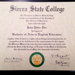 Fake Sierra State College DIploma