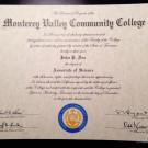Fake Monterey Valley Community College Diploma