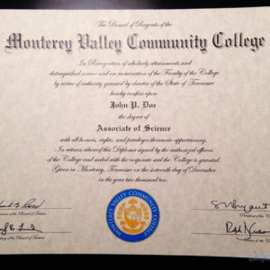 Fake Monterey Valley Community College Diploma