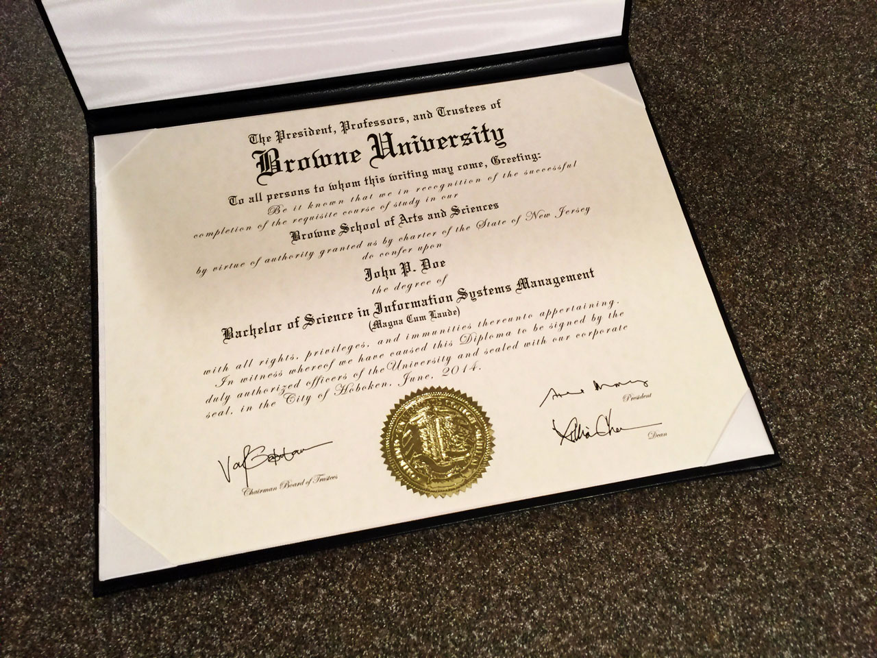 D35 Diploma Template with ES03 Gold Embossed Seal