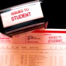 """Fake University Transcript Stamped """"Issued to Student"""" (T03-RED)"""