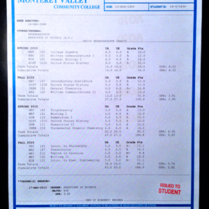 Fake Community College Transcript Sample | T02-BLUE/BLUE PAPER