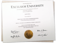 two fake college diplomas