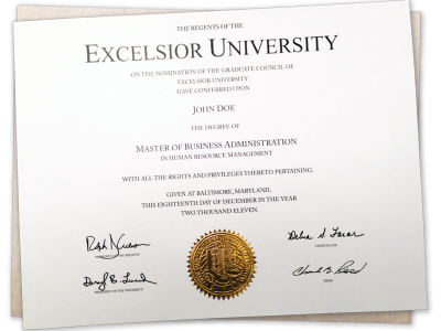 two fake college diplomas