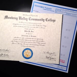 Fake Community College Diploma & Transcript