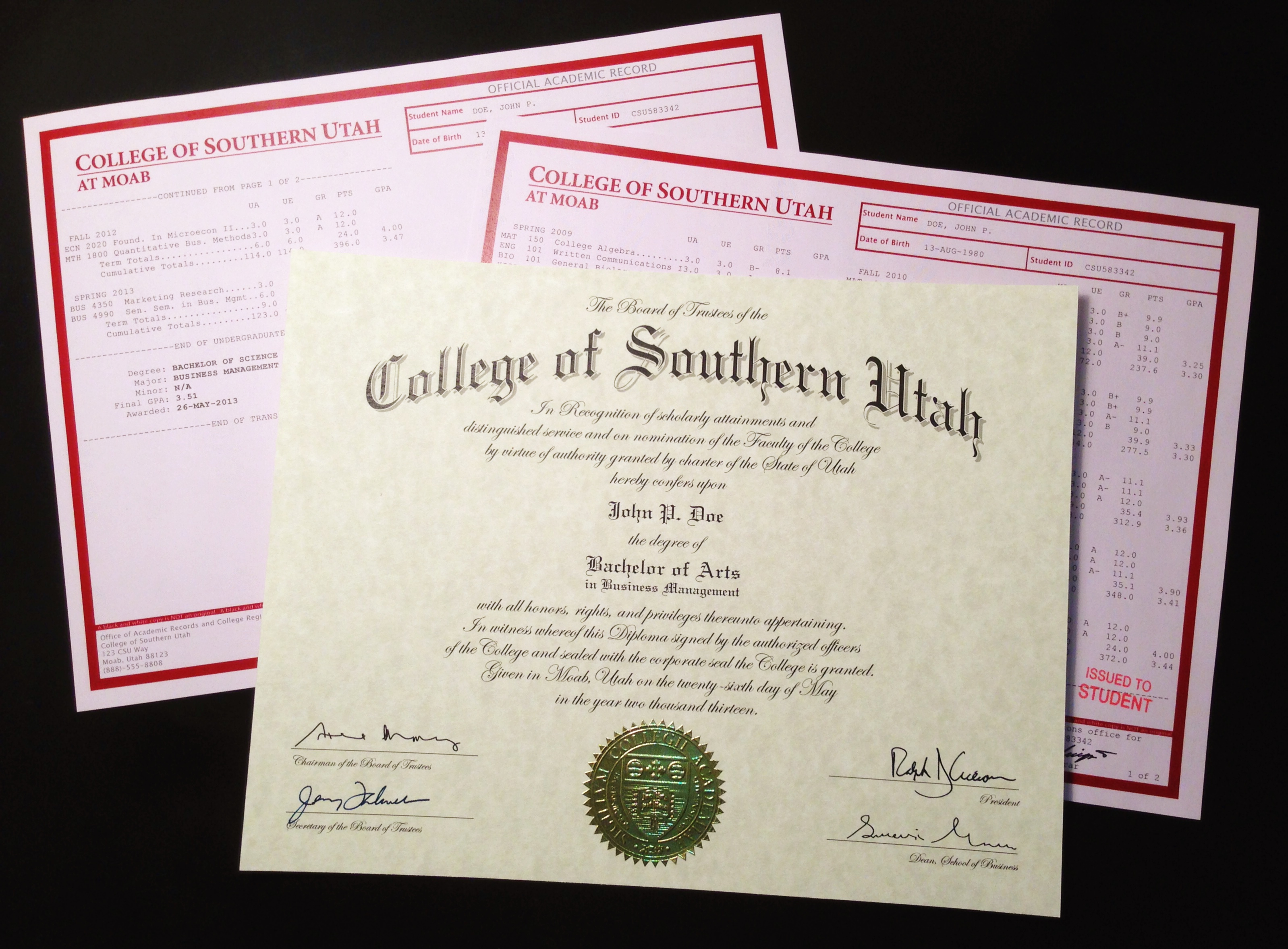 Fake College Degree Package including a fake college diploma and realistic-looking fake college transcripts