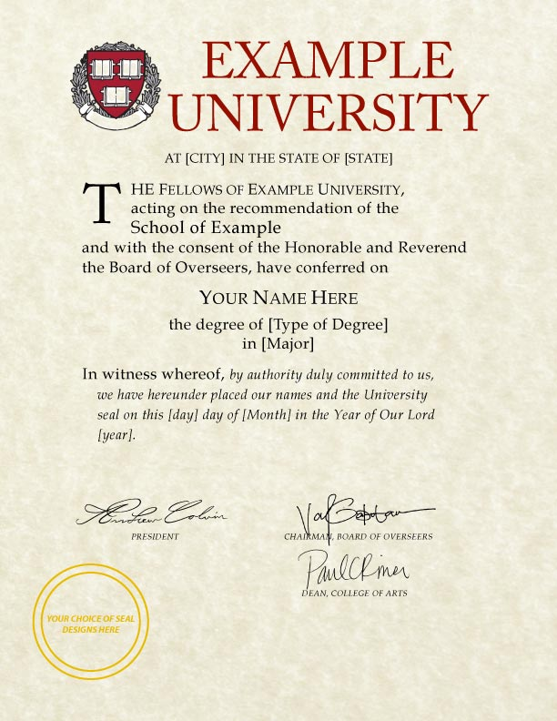 fake university degrees templates - harvard university diploma template