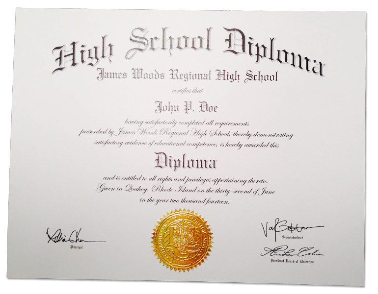 HS-D02 Fake High School Diploma Sample