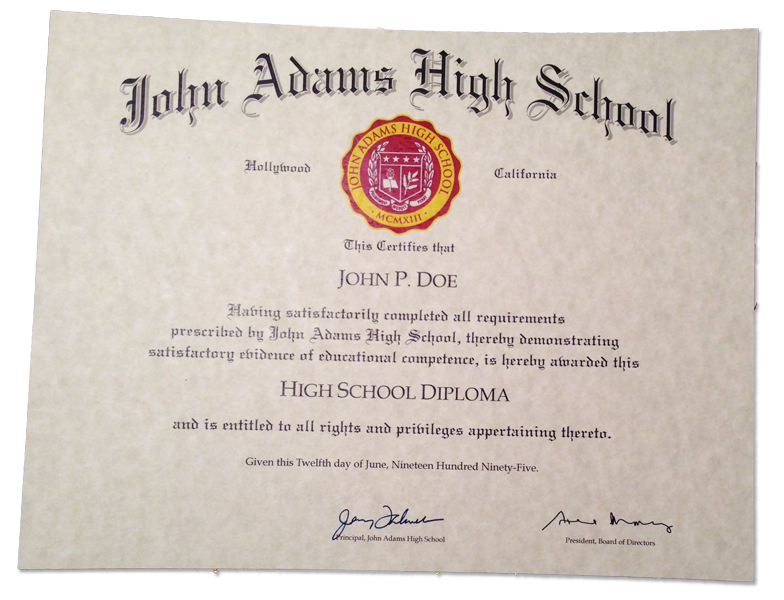 HS-D04 Fake High School Diploma Sample