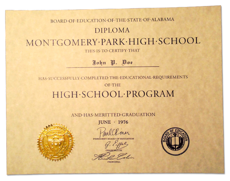 HS-D05 Fake High School Diploma Sample